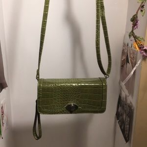 Handbags - La diva army green alligator print clutch